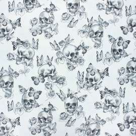 Tissu coton cretonne enduit Butterfly skull - blanc x 10cm