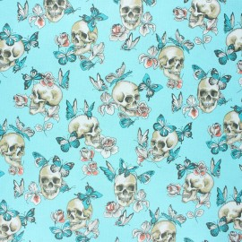 Tissu coton cretonne enduit Butterfly skull - turquoise x 10cm