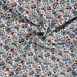 Tissu popeline de coton Dia de los muertos - blanc x 10cm