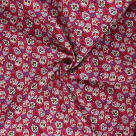 Cotton poplin fabric - fuchsia La Catrina x 10cm