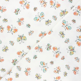 Printed Jersey fabric - white Shiny butterfly x 10cm