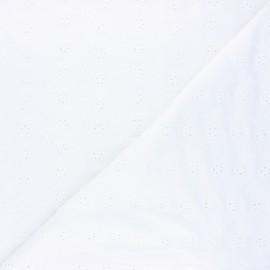 Tissu jersey viscose ajouré Fleurs - blanc x 10 cm