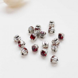 7mm Strass button - red Sweet angels