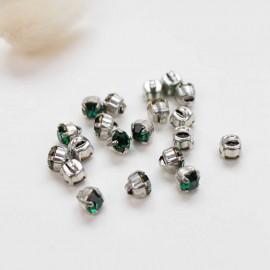 7mm Strass button - emerald Sweet angels