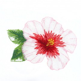 hibiscus flower iron-on applique - red/pink