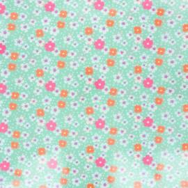 Petit Pan coated cotton fabric - water green Fleurs des îles x 10cm