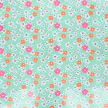 Petit Pan coated cotton fabric - water pink Fleurs des îles x 10cm