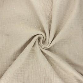 Double gauze fabric - light sand Galaxie argentée x 10cm