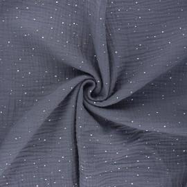 Double gauze fabric - mouse grey Galaxie argentée x 10cm