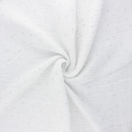 Double gauze fabric - white Galaxie argentée x 10cm