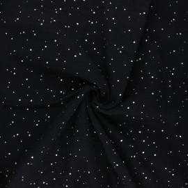 Double gauze fabric - black Galaxie argentée x 10cm
