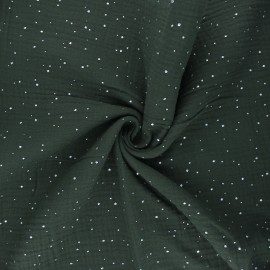 Double gauze fabric - pine green Galaxie argentée x 10cm