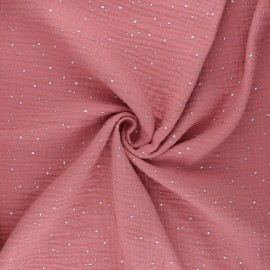 Double gauze fabric - tea pink Galaxie argentée x 10cm