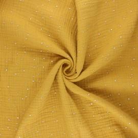 Double gauze fabric - mustard yellow Galaxie argentée x 10cm
