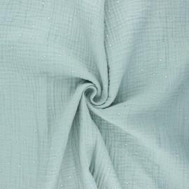 Double gauze fabric - sage green Galaxie argentée x 10cm