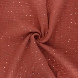 Double gauze fabric - rust Galaxie argentée x 10cm