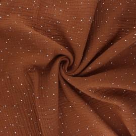 Double gauze fabric - camel Galaxie argentée x 10cm