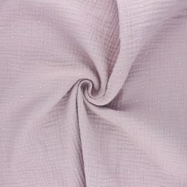 Double gauze fabric - water pink Galaxie argentée x 10cm