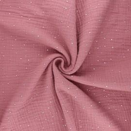 Double gauze fabric - rosewood Galaxie argentée x 10cm