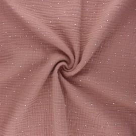 Double gauze fabric - old pink Galaxie argentée x 10cm