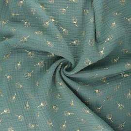 Double gauze fabric - eucalyptus Pissenlit doré x 10cm