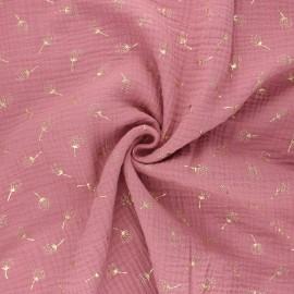 Double gauze fabric - rosewood Pissenlit doré x 10cm