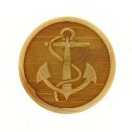 Bouton bois gravé Ancre Marine
