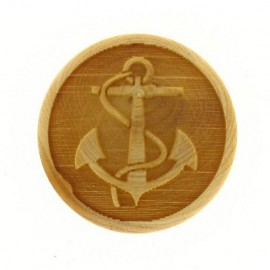 Wooden button, naval anchor engraved - natural