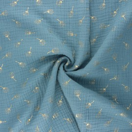 Double gauze fabric - sarcelle Pissenlit doré x 10cm