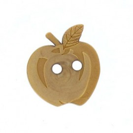 Wooden button, apple engraved - natural