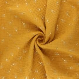 Double gauze fabric - mustard yellow Pissenlit doré x 10cm
