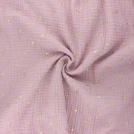 Double gauze fabric - water pink Pissenlit doré x 10cm
