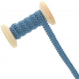 Galon Épi de blé 9 mm - bleu denim - Bobine de 25 m