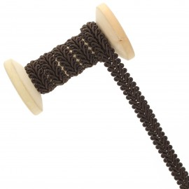 Galon Épi de blé 9 mm - chocolat - Bobine de 25 m