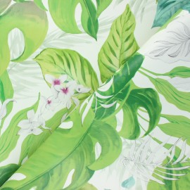 Oilcloth fabric with table protector reverse - white Monstera x 10cm