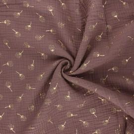 Double gauze fabric - taupe Pissenlit doré x 10cm