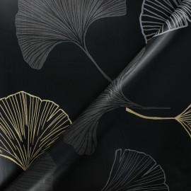 Tissu toile cirée Bulgomme Gingko - noir x 10cm
