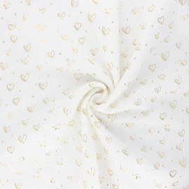Double gauze fabric - raw Coeur doré x 10cm