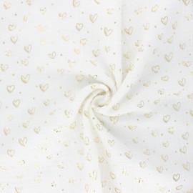 Tissu double gaze de coton Coeur doré - écru x 10cm