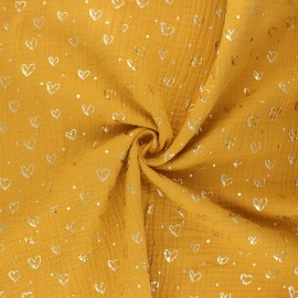 Double gauze fabric - mustard yellow Coeur doré x 10cm