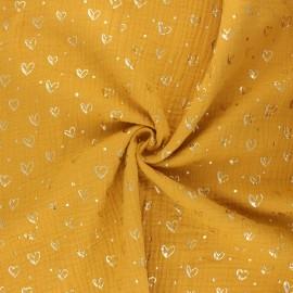 Tissu double gaze de coton Coeur doré - jaune moutarde x 10cm