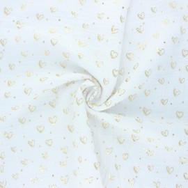 Double gauze fabric - white Coeur doré x 10cm