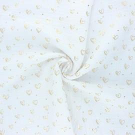 Tissu double gaze de coton Coeur doré - blanc x 10cm