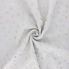 Double gauze fabric - light grey Coeur doré x 10cm