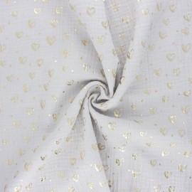 Tissu double gaze de coton Coeur doré - gris clair x 10cm