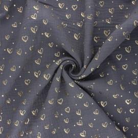 Tissu double gaze de coton Coeur doré - gris souris x 10cm