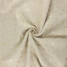 Tissu double gaze de coton Coeur doré - sable x 10cm