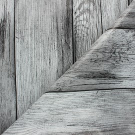 Tissu toile cirée Wood - gris x 10cm