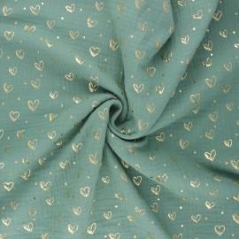 Tissu double gaze de coton Coeur doré - eucalyptus x 10cm