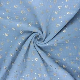 Tissu double gaze de coton Coeur doré - bleu clair x 10cm